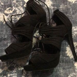 Black sexy wild diva heels 8 strappy ankle tie